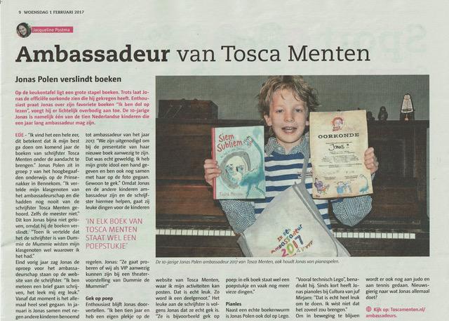 Jonas in de krant